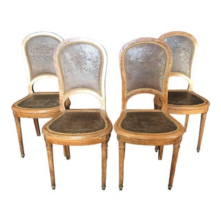 French Burled Walnut Pressed Back Leather Chairs - Set of 4 For Sale