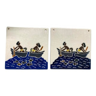 Vintage Hand-Painted Tiles from Guam - a Pair For Sale