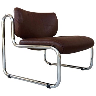 Mid Century Sculptural Chrome and Leather Italian Lounge Chair