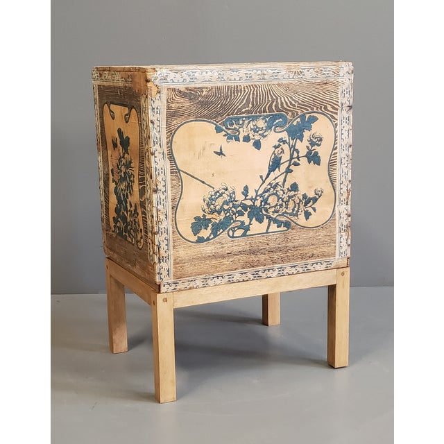 Antique Japanese Tea Crate on Stand Side Table For Sale - Image 13 of 13