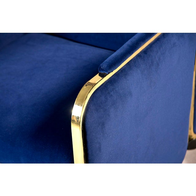 Blue Pair Design Institute America Baughman Style Brass & Blue Velvet Club Chairs For Sale - Image 8 of 9