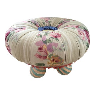 Vintage MacKenzie-Childs, Ltd. Ottoman/Tuffet With Hand Painted Ball Feet For Sale