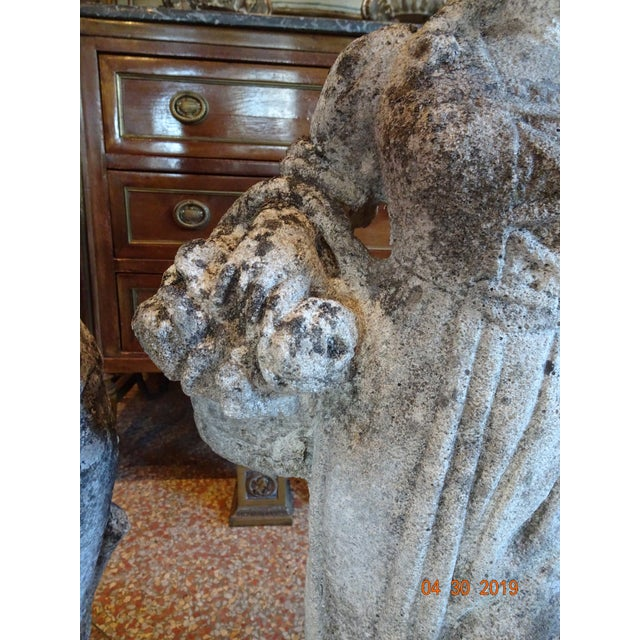 Pair of Vintage French Stone Statues For Sale In New Orleans - Image 6 of 13