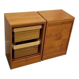 Pair of Danish Modern Teak Tambour Door File Cabinets For Sale