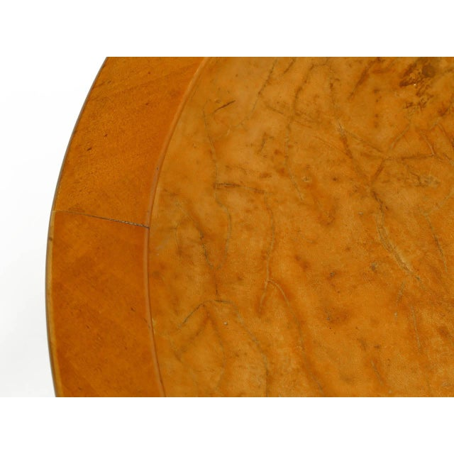 1940s Round Two-Tier Maple Side Table With Buffalo Leather Inlay For Sale - Image 9 of 9