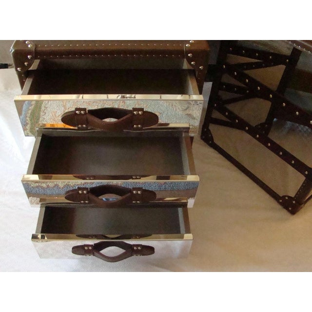 Steamer Trunk Style 3 Drawer Cube Nightstands - Pair For Sale - Image 5 of 9