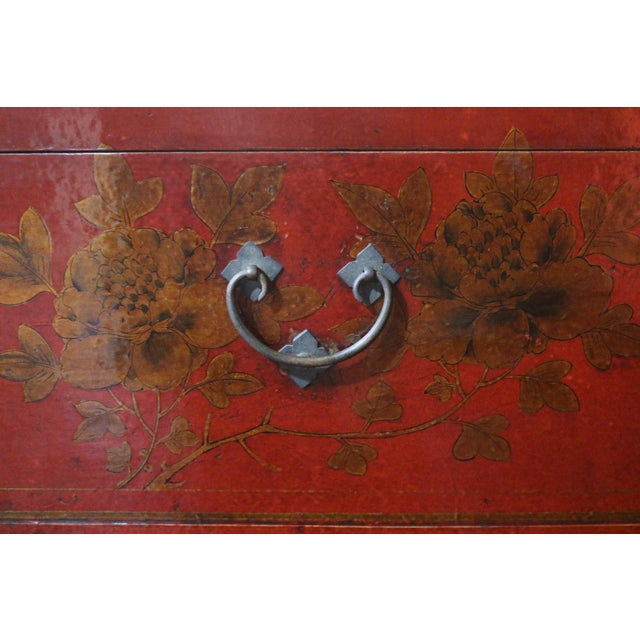 Chinese Red Lacquer Painted Trunk For Sale In Los Angeles - Image 6 of 9