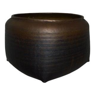 Japanese Asian Brass Bronze Copper Hand Hammered Pot Large Urn Vintage Antique For Sale