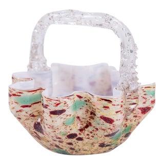Multi-Colored Murano Glass Basket For Sale