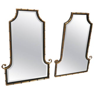 Hollywood Regency Style Faux Bamboo Decorator Wall Mirrors - a Pair For Sale