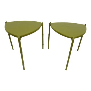 Vintage Green Painted Triangular Stacking Side Tables - A Pair For Sale
