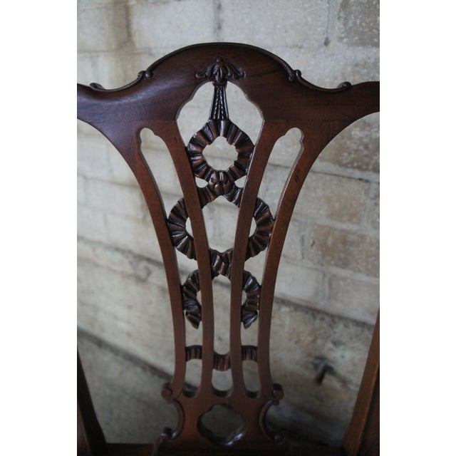 Early 20th Century Chippendale Style Ribbon Back Dining Chairs Ball & Claw Side Accent - a Pair For Sale - Image 5 of 13