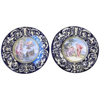 Pair of 19th Century Italian Faience Wall Chargers For Sale