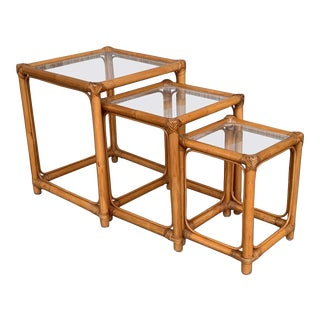 Bamboo and Rattan Nesting Tables With Clear Glass Top For Sale
