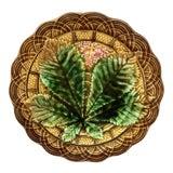 Image of 1890 Villeroy & Boch Majolica Chestnut Leaf Plate For Sale