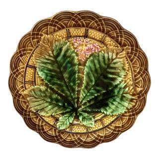 1890 Villeroy & Boch Majolica Chestnut Leaf Plate For Sale