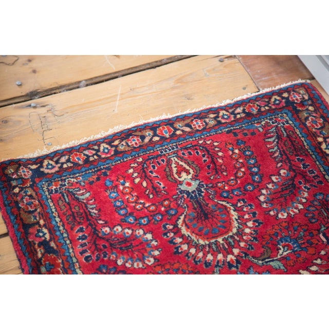 "Red Vintage Sarouk Rug Mat - 2'1"" x 4' For Sale - Image 8 of 10"