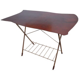 20th Century Brutalist Jim Zivic Biomorphic Leather Top and Steel Tall Table For Sale