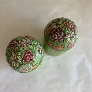 Large Vintage Floral Ceramic Salt & Pepper Shakers, a Pair Preview