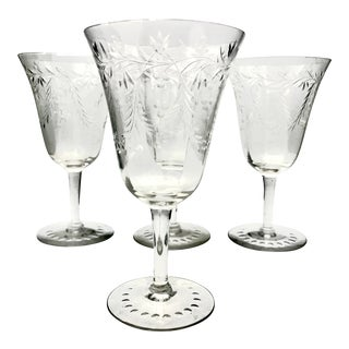 Antique Art Nouveau Swags and Floral Wheel Etched Crystal Wine Goblets - Set of 4 For Sale