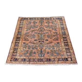 Antique Persian Lilihan Square Area Rug Blush and Blue For Sale