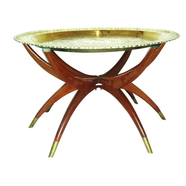 Round Chinese Brass Tray Table, MCM Teak Legs - Image 1 of 10