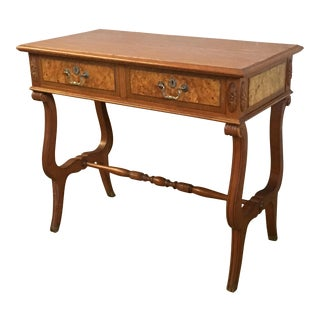 20th English Georgian Oak Two Drawers Lowboy or Desk With Lyre Legs