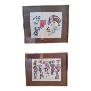 1970s Vintage Wassily Kandinsky Silkscreen Prints - A Pair For Sale