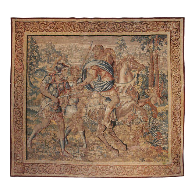 Large 17th Century Flanders Tapestry Depicting a Roman Scene For Sale