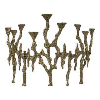 1960's Wainberg Brutalist Brass Tri-Fold Menorah Candle Holder