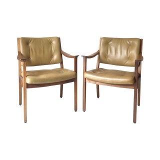 Vintage Danish Modern Gunlocke Walnut Chair - Pair