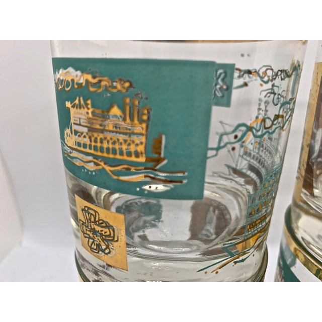 Libbey Glass Co. 1950s Mid-Century Culver Steamboat Lowball Glasses - Set of 6 For Sale - Image 4 of 8