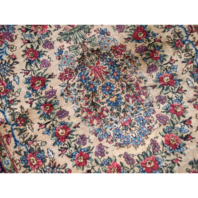 Textile 1920s, Handmade Antique Persian Kerman Rug 4.2' For Sale - Image 7 of 11