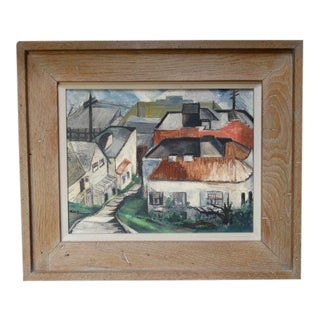 1950s Vintage Ruth L. Erlich Houses Descending a Hillside Oil on Canvas Painting For Sale