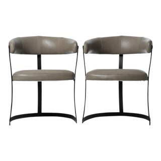 Vintage Iron & Leather Barrel Chairs - A Pair