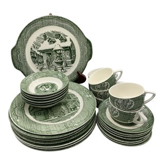 1940s Royal China Ye Old Curiosity Shop Green Dinnerware - Set of 18 For Sale