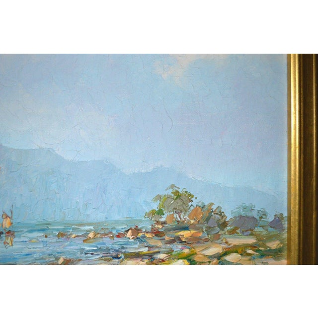 Canvas Blue Water Landscape Oil on Canvas Painting Plein Air Gold Frame For Sale - Image 7 of 12