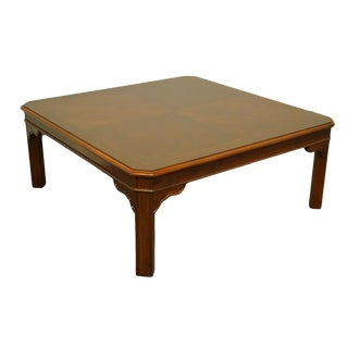 "20th Century Traditional Drexel Heritage Carleton Cherry Collection 40"" Square Coffee Table For Sale"