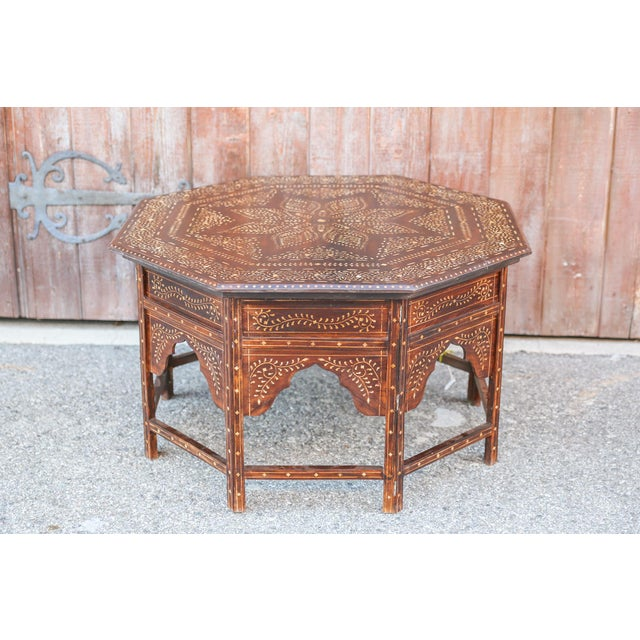 Large Octagonal Bone Inlay Floral Table For Sale - Image 9 of 9