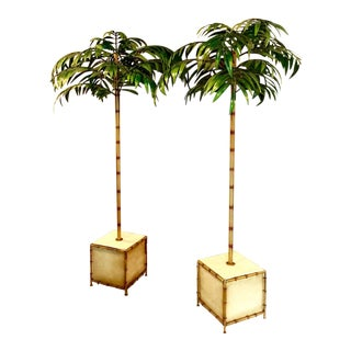 Pair of Tall Regency-Style Tole Palm Trees