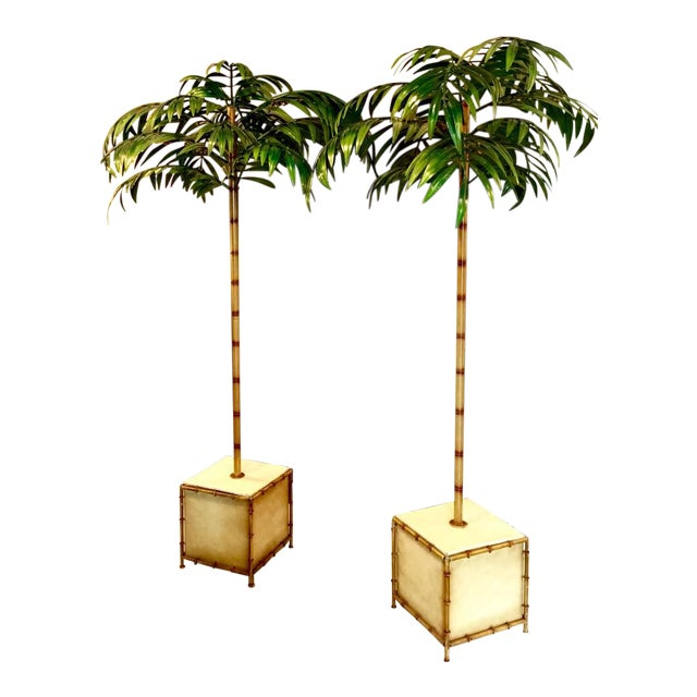 Pair of Tall Regency-Style Tole Palm Trees For Sale