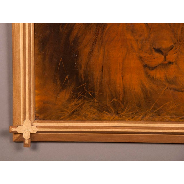 1930s 1930s Gilded Framed Oil Painting of Lion For Sale - Image 5 of 7