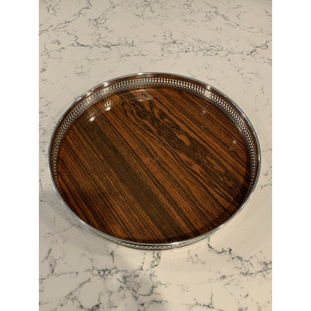 Mid 20th Century Vintage Sheffield Silverplate & Rosewood Formica Serving Tray For Sale - Image 10 of 10
