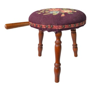 Antique Farmhouse Country Floral Needlepoint Maple Milking Footstool For Sale