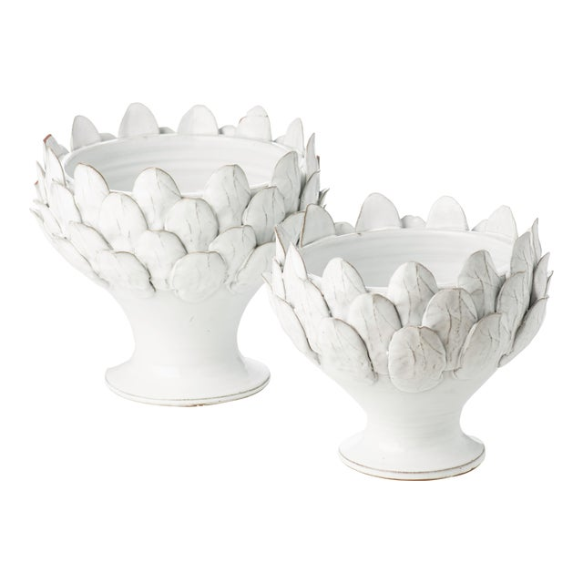 White Artichoke Footed Centerpiece, Large For Sale