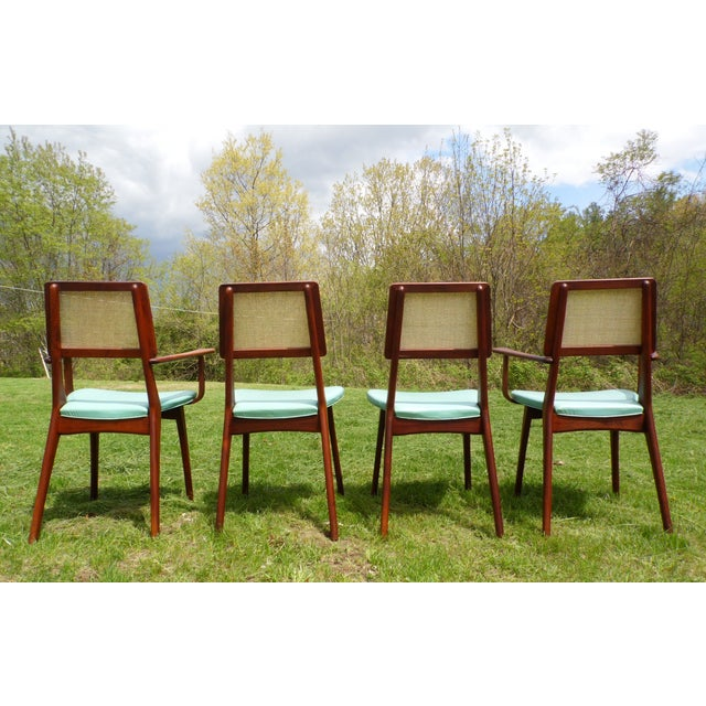 Mid-Century Modern Walnut & Cane Dining Chairs - Set of 4 For Sale In Providence - Image 6 of 11