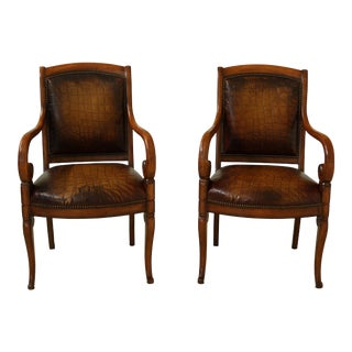 Pair Councill Craftsmen Gator Textured Leather Open Armchairs For Sale