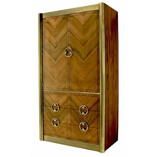Mastercraft Zebrano Wood and Patinated Brass Tall Wardrobe Cabinet Preview