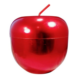 1950s Boho Chic Apple-Shaped Red Metal Ice Bucket