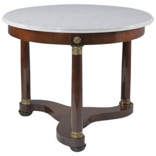 Elegant Regency Style Round Marble Top and Mahogany Center Table by Baker For Sale